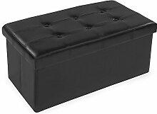TecTake® 80x40x40 cm Faltbarer Sitzhocker Aufbewahrungsbox Sitzwürfel mit Stauraum Kunstleder schwarz