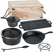 TecTake® 9 teiliges Dutch Oven Kochtopf Set aus
