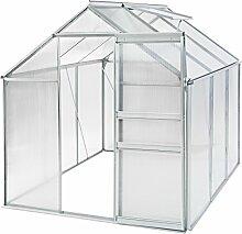 TecTake Alu Gewächshaus 5,7m³ Gartenhaus Tomaten Treibhaus Frühbeet 190x190x195cm