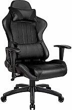 TecTake Bürostuhl Sportsitz Racing Gaming Stuhl ergonomisch mit Armlehnen inkl. Lordosenstütze und Nackenkissen - diverse Farben - (schwarz schwarz | Nr. 402229)