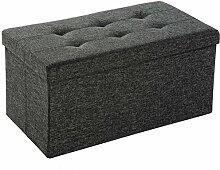 TecTake Faltbare Sitzbank Aufbewahrungsbox Sitzwürfel Hocker Würfel Möbel 76x38x38cm - diverse Farben - (Dunkelgrau | Nr. 402235)