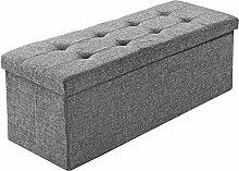 TecTake Faltbare Sitzbank Aufbewahrungsbox Sitzwürfel Hocker Würfel Möbel 110x38x38cm - diverse Farben - (Lichtgrau | Nr. 402239)