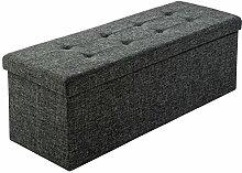 TecTake Faltbare Sitzbank Aufbewahrungsbox Sitzwürfel Hocker Würfel Möbel 110x38x38cm - diverse Farben - (Dunkelgrau | Nr. 402236)