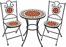 Tectake - Gartenmöbel Set Mosaik mit 2 Stühlen