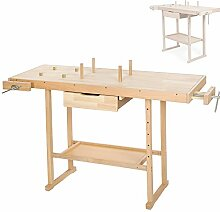 TecTake Holz Werkbank mit Schraubstock - diverse Größen - (XL)