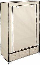 TecTake Kleiderschrank Stoffregal Garderobe Faltschrank beige mit 3 Schubladen & 1 Kleiderstange