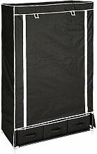 TecTake Kleiderschrank Stoffregal Garderobe Faltschrank schwarz mit 3 Schubladen & 1 Kleiderstange
