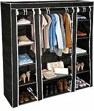 TecTake Kleiderschrank Stoffschrank Garderobe Faltschrank schwarz mit Kleiderstange & 12 Fächern | 150 x 175 x 45 cm