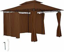 TecTake Luxus Pavillon Gartenpavillon Gartenzelt Eventpavillon (LxBxH) 400x300x270 cm | inkl. 6 Seitenteile mit Reißverschluss | Braun