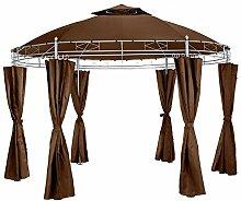 TecTake Luxus Pavillon Gartenpavillon Partyzelt Eventpavillon rund Ø 350cm | inkl. Seitenteile und Befestigungsmaterial | braun