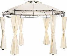 TecTake Luxus Pavillon Gartenpavillon Partyzelt Eventpavillon rund Ø 350cm | inkl. Seitenteile und Befestigungsmaterial | creme