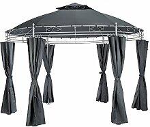 TecTake Luxus Pavillon Gartenpavillon Partyzelt Eventpavillon rund Ø 350cm | inkl. Seitenteile und Befestigungsmaterial - diverse Farben - (Anthrazit | Nr. 402456)