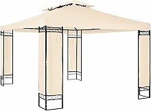 TecTake Luxus Pavillon Partyzelt Gartenzelt Eventpavillon 390x290x265 cm | Stoffbezogene Eckelemente - diverse Farben - (Creme | Nr. 402462)