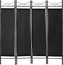 tectake Paravent Raumteiler schwarz