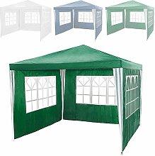 TecTake Pavillon Partyzelt Gartenzelt Eventpavillon 3x3m + 3 Seitenteile grün