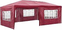 TecTake Pavillon Partyzelt Gartenzelt Eventpavillon | 3x6 m + 5 Seitenteile mit Fenster | - diverse Größen - (Rot | Nr. 402305)