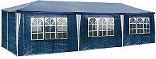 TecTake Pavillon Partyzelt Gartenzelt Eventpavillon blau 3x9m 9x3m + 8 Seitenteile