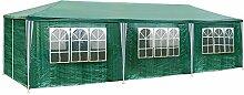 TecTake Pavillon Partyzelt Gartenzelt Eventpavillon weiß 3x9m 9x3m + 8 Seitenteile - diverse Farben - (Grün | Nr. 401292)