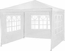 TecTake® Pavillon Partyzelt Gartenzelt Eventpavillon weiss 3x3m mit 3 Seitenteile