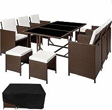TecTake Poly Rattan 6+4+1 Sitzgruppe 6 Stühle 4 Hocker 1 Tisch + Schutzhülle & Edelstahlschrauben - diverse Farben - (Mixed Braun | Nr. 402098)