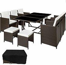TecTake Poly Rattan 6+4+1 Sitzgruppe 6 Stühle 4 Hocker 1 Tisch + Schutzhülle & Edelstahlschrauben - diverse Farben - (Antik Braun | Nr. 402099)