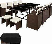 TecTake Poly Rattan 8+4+1 Sitzgruppe | 8 Stühle 4 Hocker 1 Tisch | inkl. Schutzhülle & Edelstahlschrauben | - diverse Farben - (Mixed Braun | Nr. 402832)