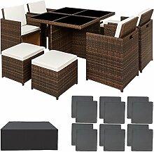 TecTake Poly Rattan Aluminium 4+1+4 Sitzgruppe Cube 4 Stühle 1 Tisch 4 Hocker + Schutzhülle & Edelstahlschrauben - diverse Farben - (Schwarz Braun | Nr. 401985)