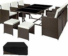TecTake Poly Rattan Sitzgruppe | 6 Stühle 4 Hocker 1 Tisch + Schutzhülle & Edelstahlschrauben | - diverse Farben - (Antik Braun | Nr. 402830)