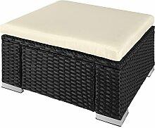 TecTake Poly Rattan Sitzhocker   Komfort - Sitzkissen   Witterungsbeständig - verschiedene Farben (Schwarz   No. 402666)