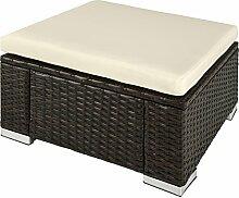 TecTake Poly Rattan Sitzhocker   Komfort - Sitzkissen   Witterungsbeständig - verschiedene Farben (Mixed-Braun   No. 402668)