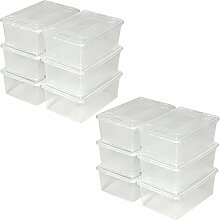 TecTake Schuhbox mit Deckel stapelbar transparent