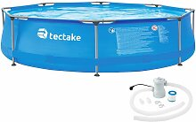 Tectake - Swimming Pool rund mit Stahlrahmen und