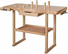 TecTake Werkbank 117 x 47,5 x 83 cm Holz Hobelbank Werktisch mit Schraubstock