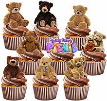 Teddybären Picknick Kuchendekorationen Party Pack–essbar Cup Cake Esspapier (36Stück)