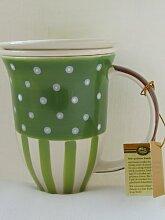 Tee Becher Kräuterteetasse Teetasse Linda mit Ablagetellerchen und Teesieb, Keramik glasiert grün braun gestreift / gepunktet, sortierte Designs