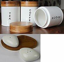 Tee-/Kaffee/Zucker Dosen-Set rund Pebble, Salz und Pfeffer mit Bambus-Deckel