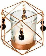 Tee-Lichthalter Diamant matt kupfer schmal, Geschenkidee, Perlen
