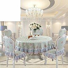 Tee Tischdecke,Stuhlhussen Kissen Set,Square Tischläufer,Runde Tischdecke,Europäische Garten Tischdecke,Untersetzer-D 110x160cm(43x63inch)