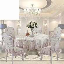 Tee Tischdecke,Stuhlhussen Kissen Set,Square Tischläufer,Runde Tischdecke,Europäische Garten Tischdecke,Untersetzer-E Durchmesser180cm(71inch)