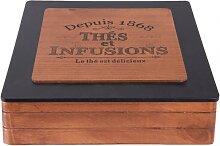 Teebeutelbox, Aufbewahrungsdose mit 9 Fächern 24x24cm H. 7cm Holz Clayre & Eef (19,95 EUR / Stück)