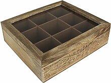 Teebox 9 Fächer inkl. Teebeutel-Halter - Teekiste
