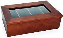 Teebox aus Holz (dunkel) mit Sichtfenster, ohne