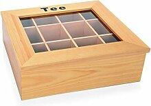 Teebox aus Holz (hell) mit Sichtfenster, mit