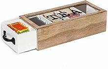 Teebox Holzbox für Teebeutel Holz weiß Teedose