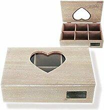 Teebox Holzschachtel mit Herzfenster
