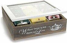 Teebox mit 9 Fächern aus Holz, Glasdeckel,