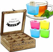 Teebox - Teedose - Teekiste - 9 Fächer - Storage