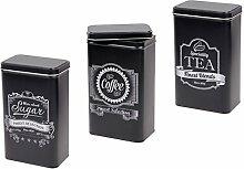 Teedose 3er Set Retro Vorratsdose Zucker Metalldose 101919 Teebeuteldose Teebox Blechdose Kaffeedose von Alsino