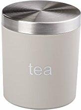 Teedose Teebox Vorratsdose Voratsbehälter in Beige aus Kunststoff und Edelstahl