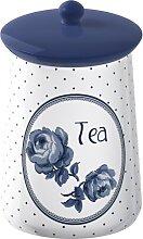 Teedose Vorratsdose TEA blau weiß H. 16cm D. 9cm  Katie Alice Creative Tops (16,95 EUR / Stück)